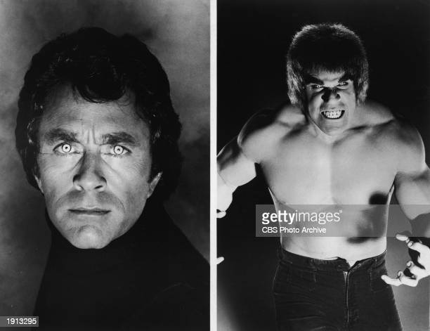 American actor Bill Bixby as Dr David Banner and American bodybuilder and actor Lou Ferrigno as his alter ego The Hulk in a promotional portrait for...