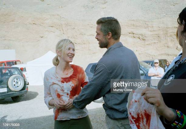 American actor Brad Pitt and Australian actress Cate Blanchett during the filming of 'Babel' on location in Morocco 2005 The film was directed by...