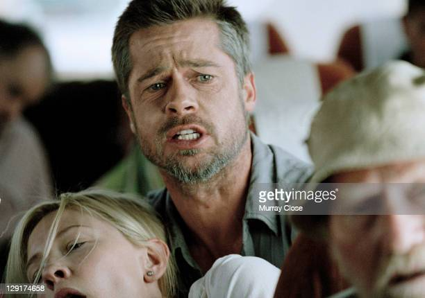 American actor Brad Pitt and Australian actress Cate Blanchett film a scene for 'Babel' on location in Morocco 2005 The film was directed by...