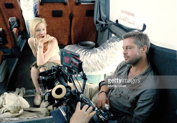 American actor Brad Pitt and Australian actress Cate Blanchett on a coach during the filming of 'Babel' on location in Morocco 2005 The film was...