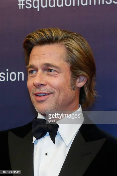 American actor Brad Pitt attends Breitling Squadona Mission event on November 20 2018 in Beijing China