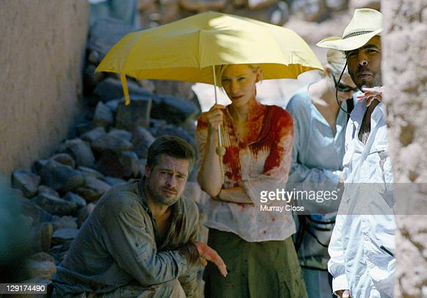 American actor Brad Pitt Australian actress Cate Blanchett and Mexican director Alejandro Gonzalez Inarritu during the filming of 'Babel' on location...