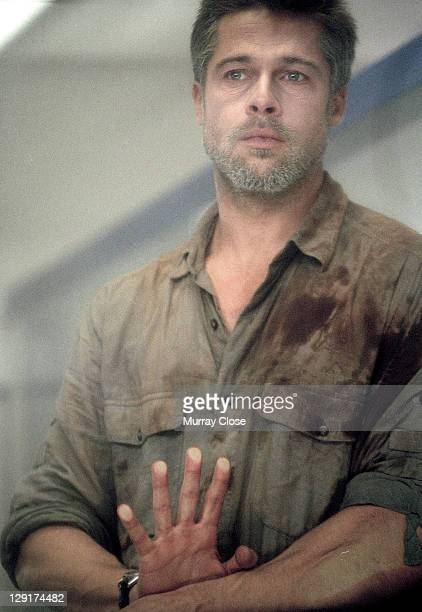 American actor Brad Pitt in a hospital scene during the filming of 'Babel' 2005 The film was directed by Alejandro Gonzalez Inarritu In this scene...