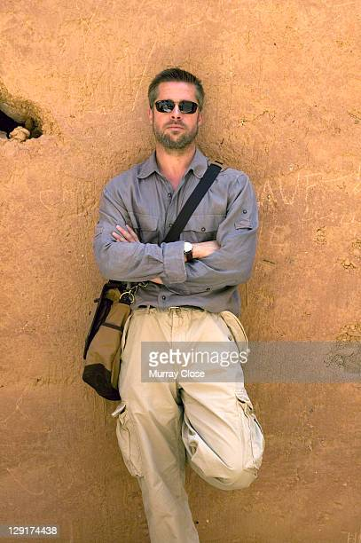 American actor Brad Pitt on location in Morocco for the filming of 'Babel' 2005 The film was directed by Alejandro Gonzalez Inarritu