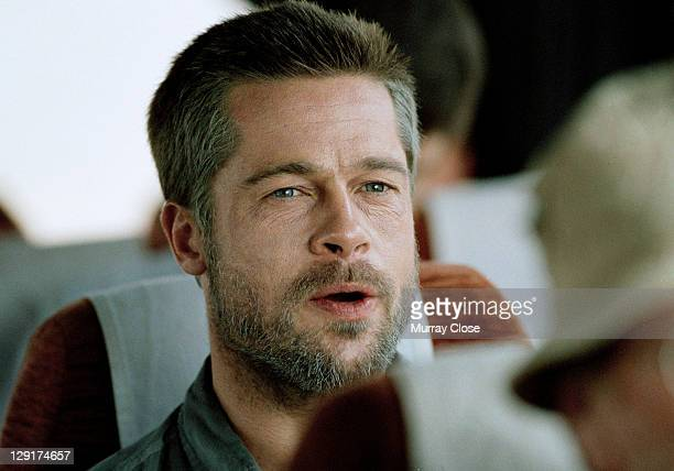 American actor Brad Pitt on location in Morocco for the filming of 'Babel' 2005 The film was directed by Alejandro Gonzalez Inarritu In this scene...
