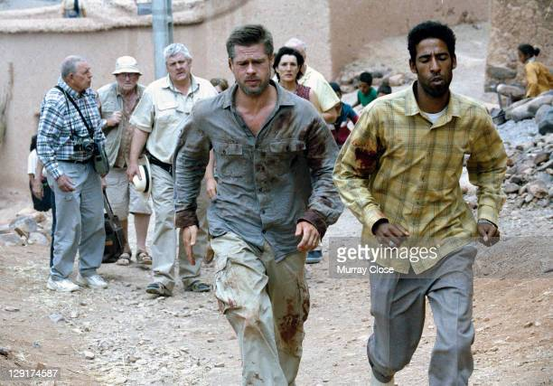 American actor Brad Pitt with actor Mohamed Akhzam on location in Morocco for the filming of 'Babel' 2005 The film was directed by Alejandro Gonzalez...