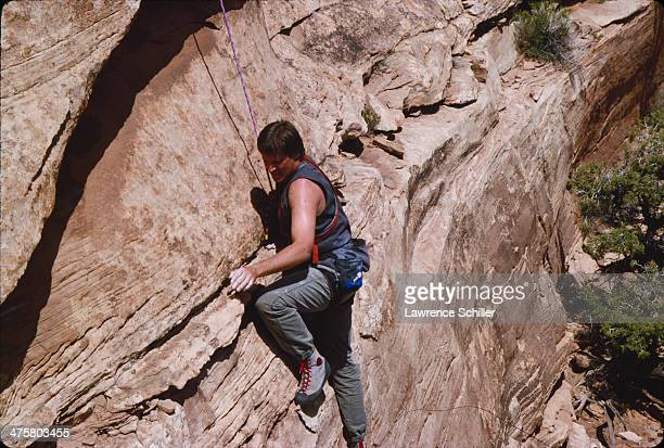American actor Bruce Boxleitner rock climbs during preproduction for the tv movie 'Double Jeopardy' Moab Utah 1991