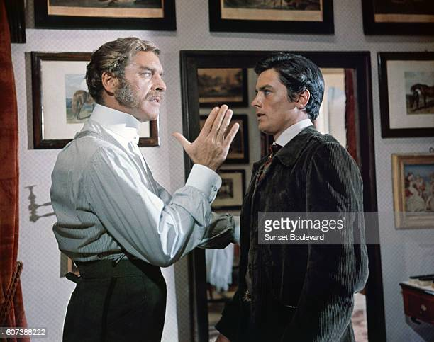 American actor Burt Lancaster and Alain Delon on the set of Il Gattopardo directed by Luchino Visconti
