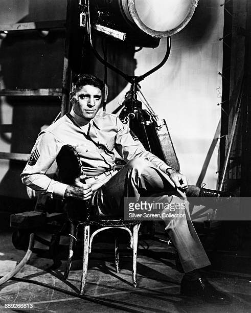 American actor Burt Lancaster as 1st Sergeant Milton Warden on the set of the film 'From Here to Eternity' 1953