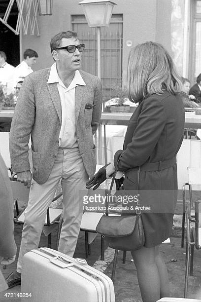 American actor Burt Lancaster just arrived in Rome on holiday talking with his daughter Joanna Rome 1966