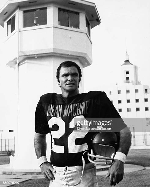 American actor Burt Reynolds as football quarterback Paul Crewe of the team 'Mean Machine' in the sports film 'The Longest Yard' 1974