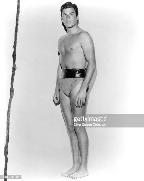 American actor Buster Crabbe as Tarzan in the film serial 'Tarzan the Fearless' 1933