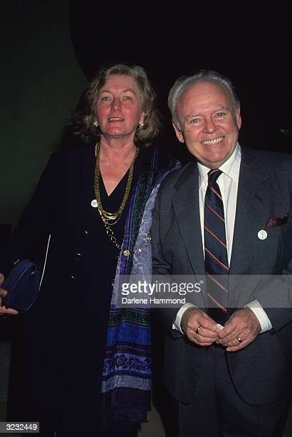 American actor Carroll O'Connor and his wife Nancy Fields smile for photographers while attending an event