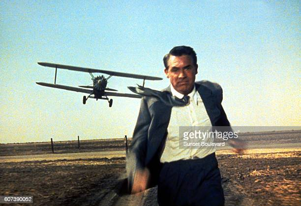 American actor Cary Grant on the set of North by Northwest directed by Alfred Hitchcok