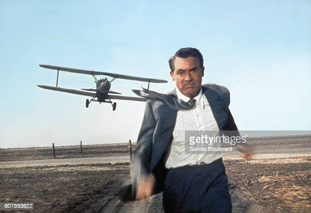 American actor Cary Grant on the set of North by Northwest directed by Alfred Hitchcock