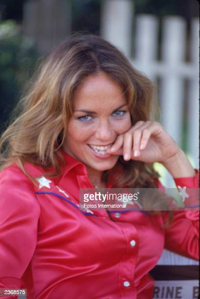 American actor Catherine Bach on the set of the television show, 'The Dukes of Hazzard,' July 1980.