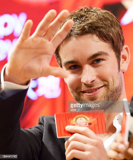 American actor Chace Crawford attends a press conference on October 13 2013 in Guangzhou Guangdong Province of China
