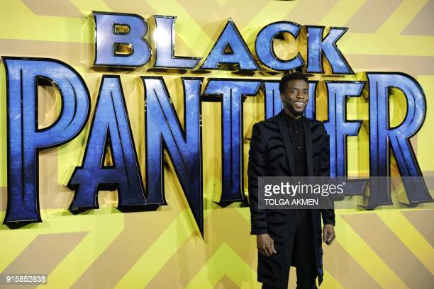 American actor Chadwick Boseman poses on arrival for the European Premiere of 'Black Panther' in central London on February 8, 2018.