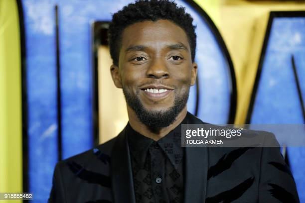 American actor Chadwick Boseman poses on arrival for the European Premiere of 'Black Panther' in central London on February 8 2018 / AFP PHOTO /...