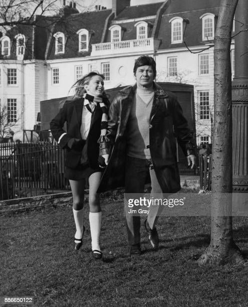 American actor Charles Bronson and English actress Susan George on Chelsea Embankment in London during the filming of 'Twinky' aka 'Lola' 13th...