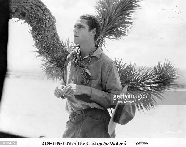 American actor Charles Farrell stars in the Rin-Tin-Tin film 'Clash Of The Wolves', the story of the friendship between a man and a wounded wolf....