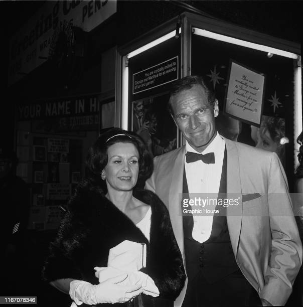 American actor Charlton Heston and his wife Lydia Clarke at the premiere of the film 'Who's Afraid of Virginia Woolf' in Hollywood California 21st...
