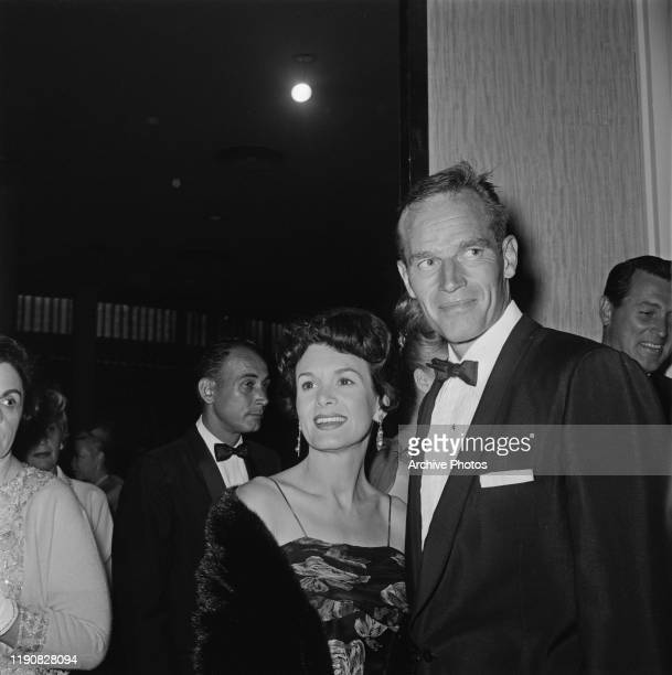 American actor Charlton Heston and his wife photographer Lydia Clarke at the Hope Dinner a celebrity charity dinner USA circa 1963