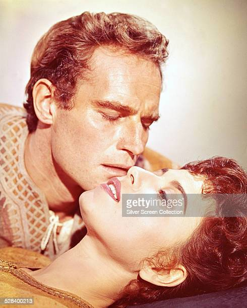 American actor Charlton Heston and Israeli actress Haya Harareet in a promotional portrait for 'BenHur' directed by William Wyler 1959