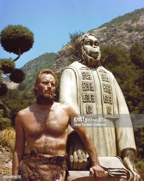 American actor Charlton Heston as astronaut George Taylor in the science fiction film 'Planet of the Apes' 1968