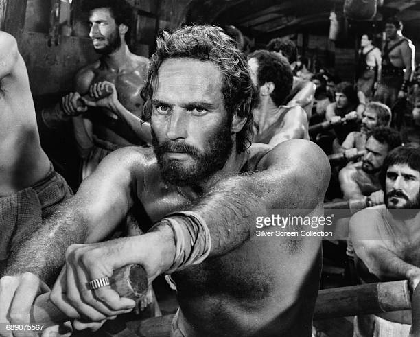 American actor Charlton Heston as galley slave Judah BenHur in a scene from the film 'BenHur' directed by William Wyler 1959