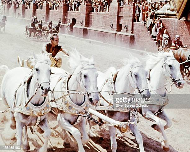 American actor Charlton Heston as Judah BenHur in the chariot racing scene from 'BenHur' directed by William Wyler 1959