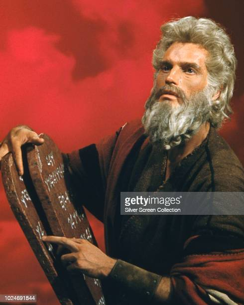 American actor Charlton Heston as Moses in a publicity still for the biblical epic 'The Ten Commandments' 1956