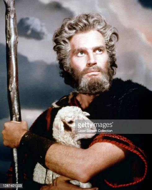 American actor Charlton Heston as Moses in a publicity still for the biblical epic film 'The Ten Commandments', 1956.