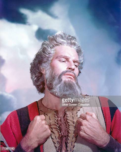 American actor Charlton Heston as Moses in the biblical epic 'The Ten Commandments' directed by Cecil B DeMille for Paramount 1956