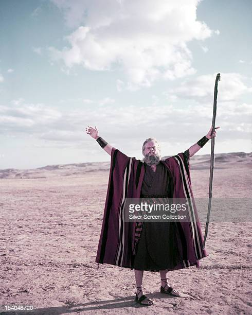 American actor Charlton Heston as Moses in 'The Ten Commandments' directed by Cecil B DeMille 1956