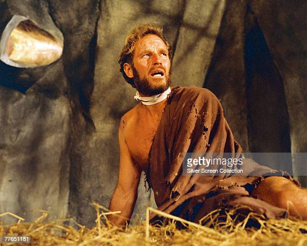 American actor Charlton Heston as stranded astronaut George Taylor in the film 'Planet of the Apes' 1968
