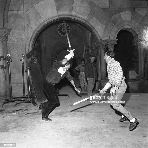American actor Charlton Heston during a sword duel simulation for the movie 'El Cid' Lido Venice 1961