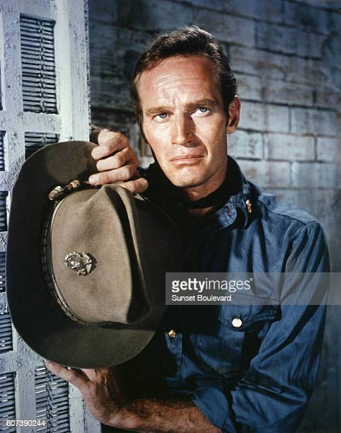 American actor Charlton Heston on the set of 55 Days at Peking directed by Nicholas Ray