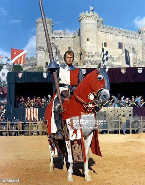 American actor Charlton Heston on the set of El Cid directed by Anthony Mann
