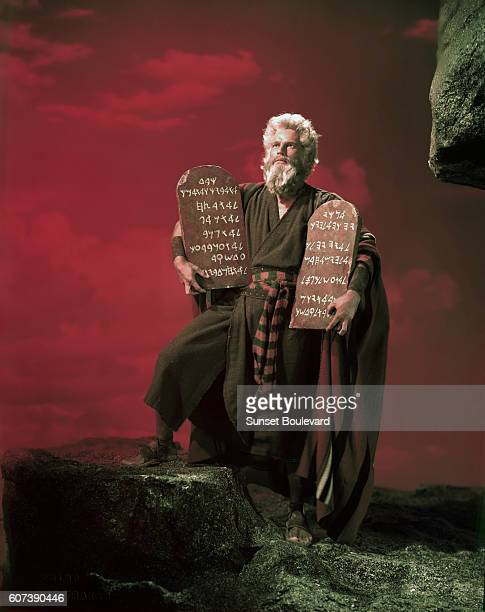 American actor Charlton Heston on the set of The Ten Commandments directed by Cecil B DeMille