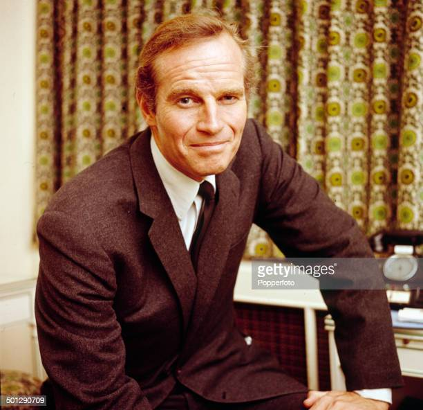 American actor Charlton Heston posed in London in 1966