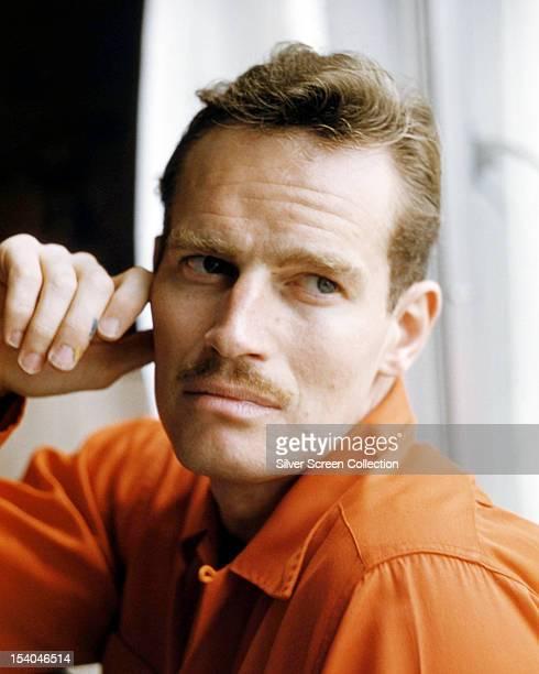 American actor Charlton Heston sporting a moustache circa 1955