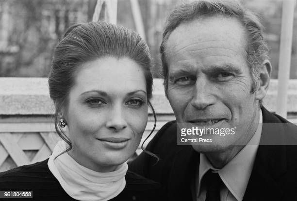 American actor Charlton Heston with actress Hildegarde Neil his costar in the film 'Antony and Cleopatra' during a press reception at the Dorchester...