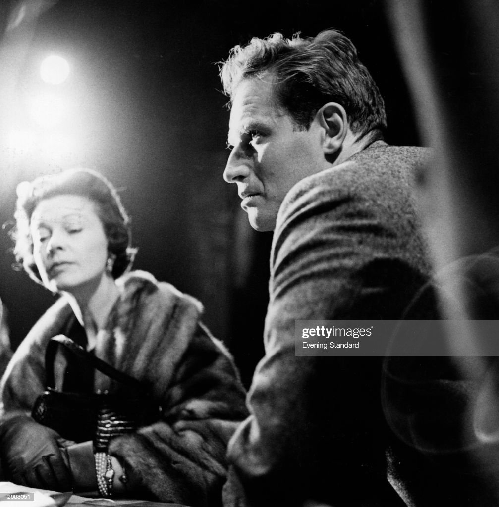American actor Charlton Heston with British actress Vivien Leigh at a press conference. Original Publication: People Disc - HE0237