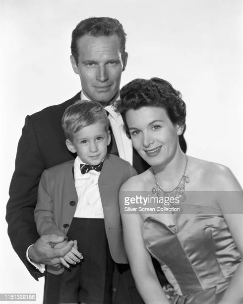 American actor Charlton Heston with his wife actress Lydia Clarke and their son Fraser Clarke Heston circa 1959