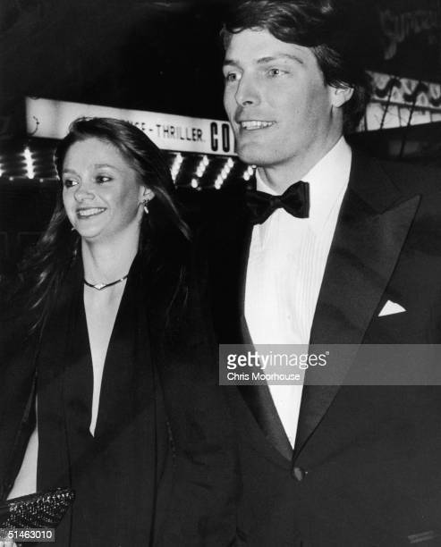 American actor Christoper Reeve best known for his role as Superman attending a function with his long term girlfriend Gae Exton 8th January 1979