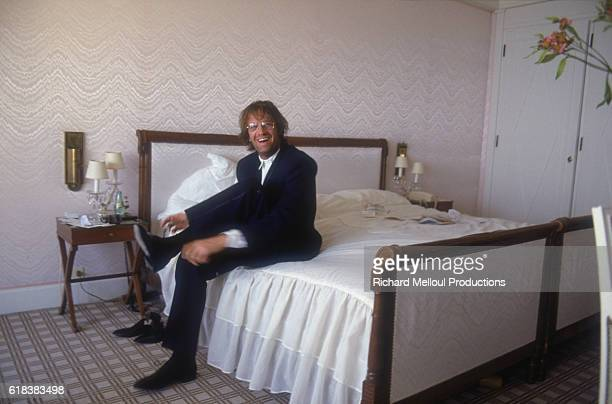 American actor Christopher Lambert in his hotel room at the Cannes Film Festival He has completed the first Highlander film this year
