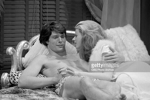 American actor Christopher Reeve and German actress Birgitta Talksdorf lie in bed together in a scene from the soap opera 'Love of Life' New York New...