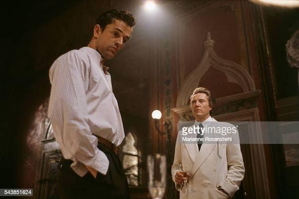 American actor Christopher Walken and British actor Rupert Everett on the set of 'The Comfort of Strangers' by American director screenwriter and...