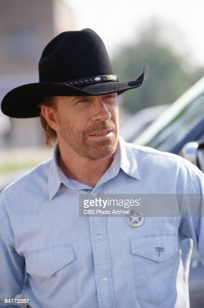 American actor Chuck Norris plays Texas Ranger Cordell �Cord� Walker in the episode �On The Border� from the television show 'Walker Texas Ranger'...